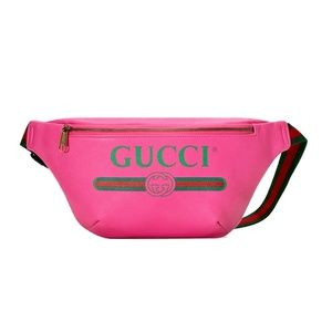 Gucci Print Leather Belt Bag Size 75